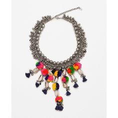 Zara Colourful Pompom And Bead Necklace (97 SAR) ❤ liked on Polyvore featuring jewelry, necklaces, shell bead necklace, beaded necklaces, seashell jewelry, beading jewelry and sea shell necklace