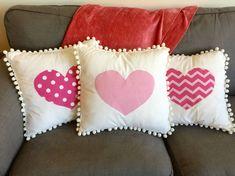 Cute Cushions, Diy Pillows, Decorative Pillows, Checked Cushions, Throw Pillows, Valentines Bricolage, Valentine Crafts, Valentine Pillow, Disney Diy Crafts