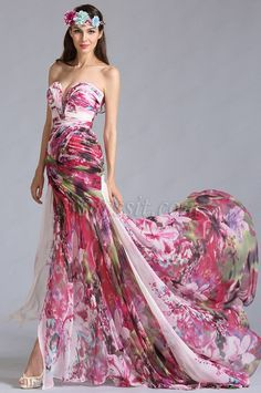 Strapless Sweetheart Printed Evening Dress Summer Dress (00120512) #edressit #printed_dress #summer #holiday #fashion
