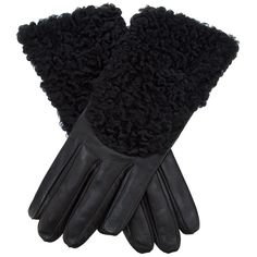 ALPO shearling panel leather gloves ($245) ❤ liked on Polyvore