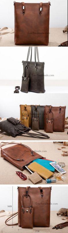Handmade Leather handbag shoulder bag large tote for women #luxurydesign