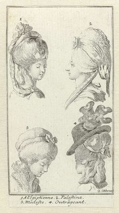Almanac de Gotha pour l'année 1782: Vier dameskapsels, Daniel Nikolaus Chodowiecki, 1782
