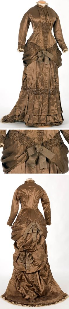 Two-piece dress ca. 1875-79. Silk satin with bodice lined in taffeta, possibly cotton, Documentation Center and Textile Museum, Terrasa, Spain (IMATEX)