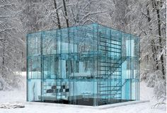 Glass House built to reflect it's natural surroundings by Carlo Santambrogio and Ennio Arosio.