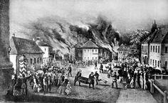 Пожежа в Чернівцях 1859 р. Літографія з книги Р.-Ф. Кайндля ''Geschichte von Czernowitz''