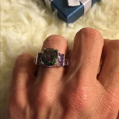 .925 sterling silver, mystic topaz, amethyst ring Large center-stone is mystic topaz, with 3 amethyst on each side, genuine sterling silver. NWT Jewelry Rings