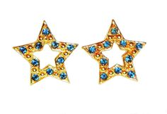 "Vintage Signed Avon 1995 ""Sparkle Star"" ~ gold-tone with blue rhinestones by BeccasBestJewelry on Etsy"