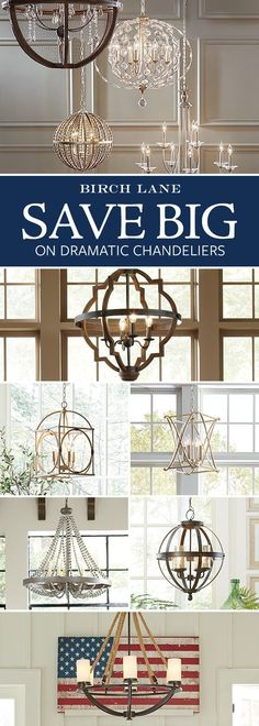 Shimmering, elegant, and bright, the right chandelier adds some much-needed drama to your space. Whether your style skews traditional or has a more rough-around-the-edges farmhouse feel, Birch Lane's selection of chandeliers has an option for you. Farmhouse Lighting, Farmhouse Decor, Farmhouse Style, Country Style, Home Renovation, Home Remodeling, Interior Design Minimalist, Minimalist Bedroom, Minimalist Decor