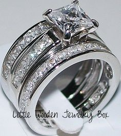 Princess Cut Diamond Engagement Ring 3pc Wedding Set White Gold Sterling Silver in Jewelry & Watches, Engagement & Wedding, Engagement/Wedding Ring Sets | eBay