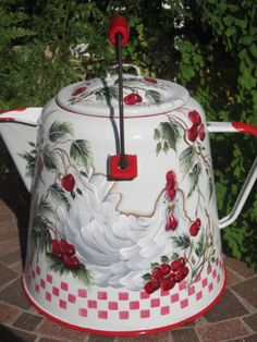 10in tall to top of lid. Vintage Enamel Coffee Pot Hand Painted Chicken Red Cherries Country French HP
