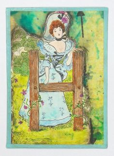 Gibson Girl ACEO Alphabet Series H  One of a Kind by wiggelhevin, $8.00