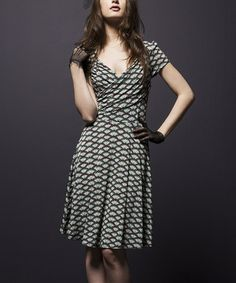 This White & Black Fan Sweetheart Surplice Dress - Women by Leota is perfect! #zulilyfinds