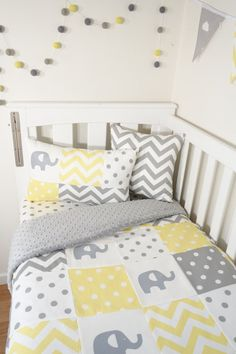 Patchwork nursery set  Yellow and grey elephants by MamaAndCub