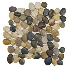 Merola Tile, Riverstone Multi 12 in. x 12 in. x 12 mm Natural Stone Mosaic Floor and Wall Tile, GDMRSML at The Home Depot - Tablet Stone Mosaic Tile, Pebble Mosaic, Mosaic Tiles, Wall Tiles, Mosaics, Mosaic Wall, Rock Tile, Bright Summer Acrylic Nails, Pebble Stone
