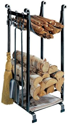 Keep your wood and newspapers organized beside your fireplace. Size 34 x 15 x 16 inches. Indoor Firewood Rack, Navy Living Rooms, Brick Fireplace Makeover, Blacksmith Projects, Metal Working Tools, Into The Woods, Blue Color Schemes, Fireplace Accessories, Tools For Sale