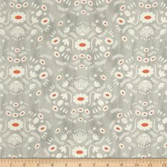 Designed by Alexia Marcelle Abegg for Cotton + Steel, this cotton print collection features charming designs that appear hand printed, and are made in Japan. This print features a scandinavian looking floral design. perfect for quilting, apparel, and home decor accents. Colors include grey, clay orange, and beige on an unbleached cotton base.
