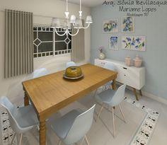 Design interiores estilo provençal contemporâneo para sala de jantar.