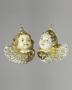 """Two """"Cherubs"""" Glass Christmas Ornament by Jay Strongwater at Neiman Marcus."""
