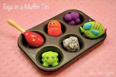 Toys in a muffin tin - simple baby play idea teachertypes.blogspot.com.au