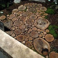 Have you ever thought to pay more attention to a walkway to your home ? Decorated walkway with wood slices make your yard more wonderfull d. Wood Path, Wood Walkway, Wooden Pathway, Outdoor Walkway, Wood Wood, Diy Wood, Stone Path, Wood Slab, Mosaic Walkway