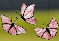 Stained glass pink butterfly suncatcher, pink butterflies on Etsy