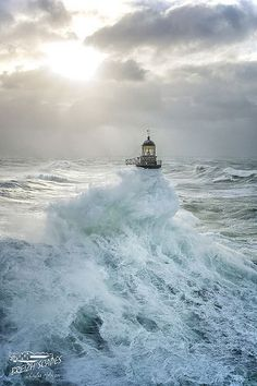 "~~ Waves engulf the lighthouse that belongs to ""HELL"" lighthouse places category, Brittany, France by Breizh'scapes Photographes ~~ Photograph AR MEN by Breizh& Photographes on No Wave, Foto Poster, Lighthouse Pictures, Jolie Photo, Ocean Waves, Cool Photos, Beautiful Places, Scenery, Places To Visit"