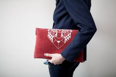 Envelope Bag Geometrical Illusion Leather Suede Red with White No. EB-201. $64.00, via Etsy.