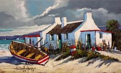 Arniston ~ Western Cape Painting by Nic van Rensburg  Click on pic to find charming self catering accommodation in Arniston. Ship Paintings, Seascape Paintings, Landscape Paintings, Building Painting, Boat Painting, Canvas Painting Projects, Canvas Art, Fishermans Cottage, Lighthouse Pictures