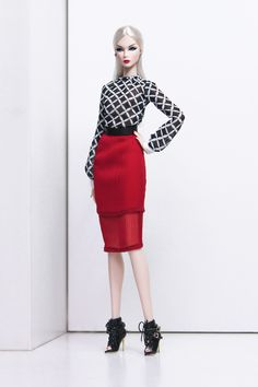 2-piece Red/ Black/ White Outfit for Barbie Size Dolls