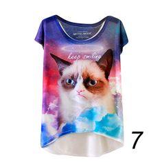 Women Shirts Short Sleeve Cartoon Tee Vintage Summer T Shirt Women Clothing Tops Animal Owl Cat Print T-shirt Women Clothes #Affiliate