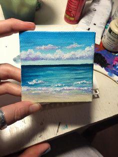 Items similar to Acrylic 2 215 2 Beach Ocean Painting OOK on Etsy Items similar to Acrylic 2 215 2 Beach Ocean Painting OOK on Etsy Arwen gabybalzer zeichnen malen pinseln schreiben 2 215 2 nbsp hellip canvas beach Small Canvas Paintings, Small Canvas Art, Mini Canvas Art, Cute Paintings, Painting Canvas, Acrylic Paintings, Acrylic Canvas, Ocean Paintings, Mini Tela