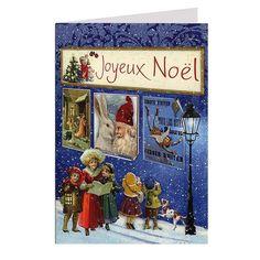Joyeux Noel Victorian Carolers Glittered Christmas Card ~ Germany