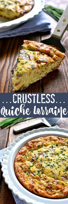 This Crustless Quiche Lorraine is a delicious twist on a classic recipe. Loaded with bacon eggs Swiss cheese and cream it has so much flavor you'll never even miss the crust! Perfect for Easter brunch or anytime you want an impressive easy and delic Quiche Recipes, Egg Recipes, Brunch Recipes, Cooking Recipes, Mango Recipes, Brunch Food, Crustless Quiche Lorraine, Quiche Lorraine Recipe, Quiche Crustless