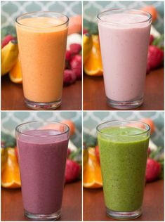 Smoothie Recipes 4 Make-Ahead Veggie-Packed Fruit Smoothies - Totally great for meal planning and prepping. Veggie And Fruit Smoothie, Veggie Smoothie Recipes, Vegetable Smoothies, Apple Smoothies, Breakfast Smoothies, Healthy Smoothies, Healthy Drinks, Breakfast Fruit, Nutrition Drinks