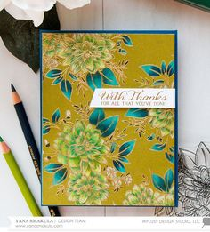 Yana Smakula and Kristina Werner: WPlus9 Beautiful Bouquet Dahlia  and  Beautiful Bouquet Ranunculus  (sentiment) stamp sets; Faber-Castell Polychromos Colored Pencils