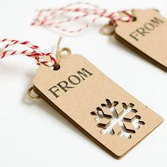 Simple Christmas gift tags (These are made of wood, but it's a great idea for card stock tags, too.)
