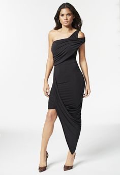 One Shoulder Asymmetrical Dress - JustFab