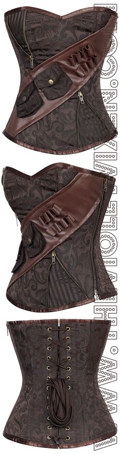 Awesome new Mercurial Steamtrooper Corset is a steampunk dream! I'm in love with the utility belt and those pouches, and the gorgeous rich brocade! Want!