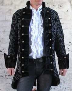Black Silver Pirate Regal Gothic Military Jacket Coat Brocade Quality Theatrical