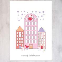 Jubel - A3 Poster, Flamingo House, 297 x 210 cm matt paper, by Jubelshop on Etsy. www.jubelshop.no