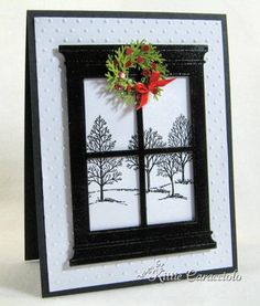 Black and White Winter Holiday Window by kittie747 - Cards and Paper Crafts at Splitcoaststampers