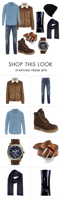 """P"" by hannahjerao on Polyvore featuring River Island, Levi's, AMI, Timberland, FOSSIL, Orciani, Tiger of Sweden, Giorgio Armani, Patagonia and men's fashion"