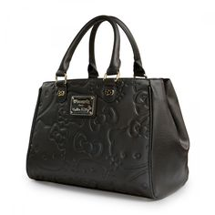 Hello Kitty Large Face Embossed Black Double Handle Bag - Bags