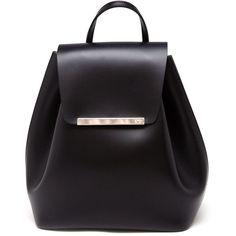Nº21 Logo Plaque Backpack ($489) ❤ liked on Polyvore featuring bags, backpacks, black, rucksack bag, bucket bag, leather knapsack, backpacks bags and genuine leather backpack