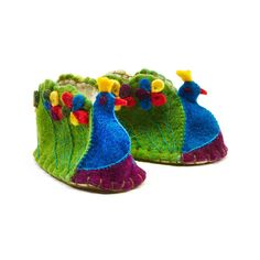Fair Trade Peacock Felt Zooties Baby Booties handmade by artisans in Kyrgyzstan available at Alternatives Global Marketplace
