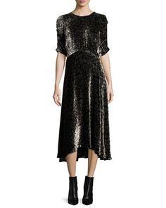 Liane+Floral+Velvet+Midi+Dress+by+Rebecca+Taylor+at+Bergdorf+Goodman.