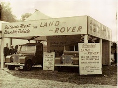 "On the 26th to 29th of May 1948, the #LandRover made its UK debut. Here is a photo of the first two ""demos"" on display."