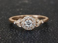 Leaves Engagement Ring Silly Shiny Diamonds by SillyShinyDiamonds