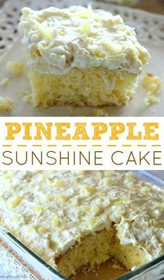 Sunshine Cake - A light and fluffy pineapple-infused cake, topped with a sweet and creamy whipped cream frosting. T -Pineapple Sunshine Cake - A light and fluffy pineapple-infused cake, topped with a sweet and creamy whipped cream frosting. Pineapple Desserts, Pineapple Poke Cake, Pinapple Sunshine Cake, Pineapple Frosting, Pineapple Cream Cake Recipe, Crushed Pineapple Cake, Fresh Pineapple Recipes, Hawaiian Dessert Recipes, Coconut Pineapple Cake