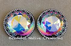 """These big beauties are available... $50 +shipping •Measures 2.25"""" •Fingernail posts and backed with deer hide.. msg me to purchase #beadifulnativecreations #beadedearrings #nativebeadwork"""